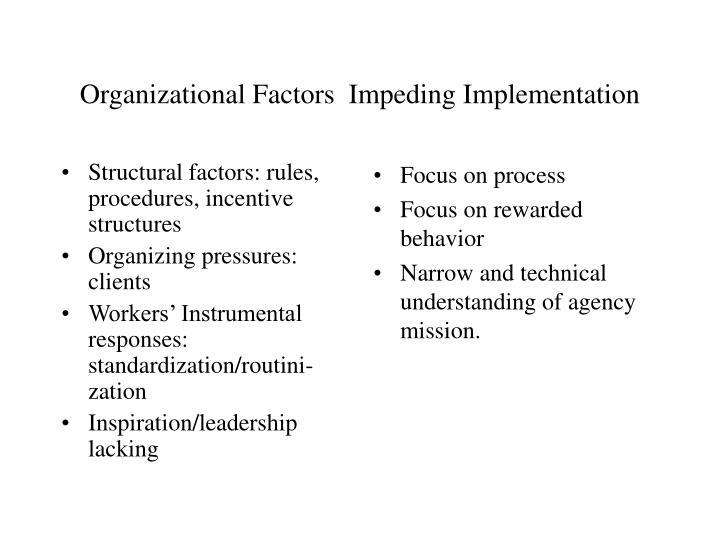 Organizational factors impeding implementation
