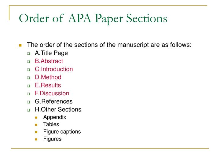 Order of apa paper sections