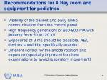 recommendations for x ray room and equipment for pediatrics