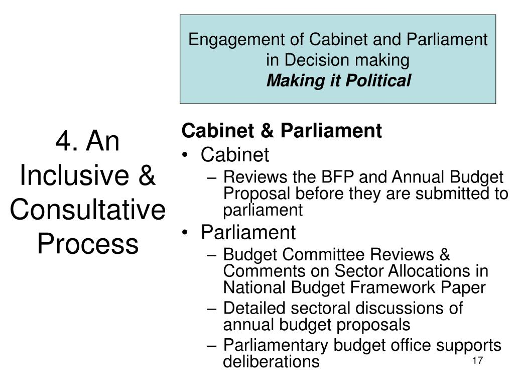 Engagement of Cabinet and Parliament in Decision making