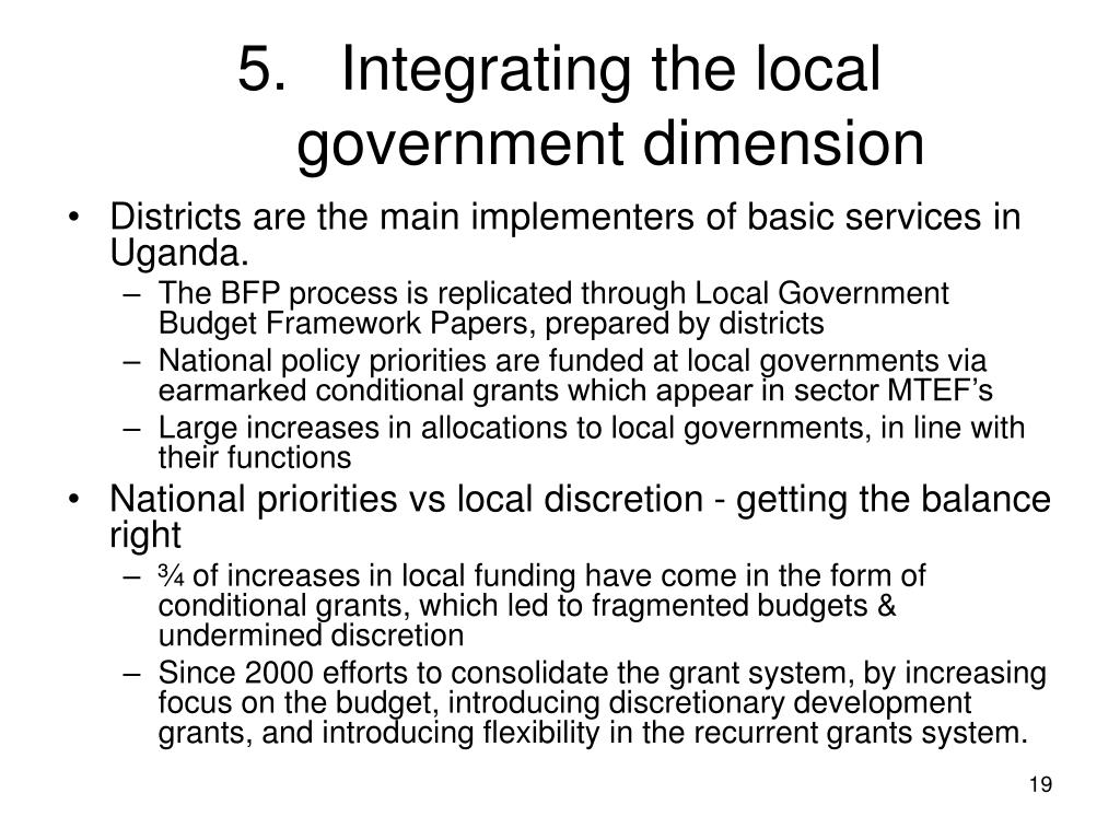 Integrating the local government dimension