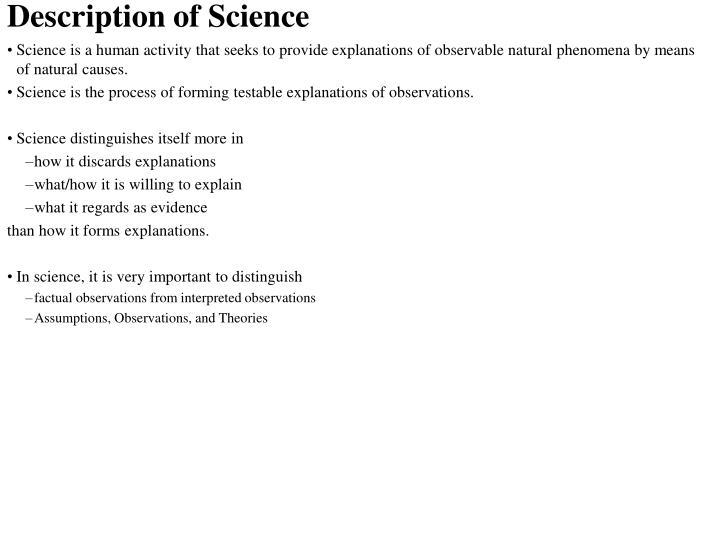 Description of science