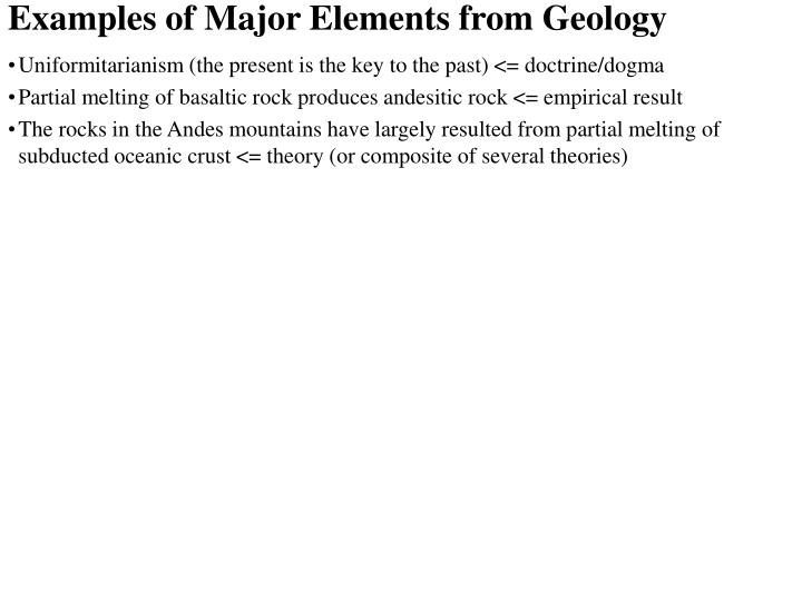 Examples of Major Elements from Geology
