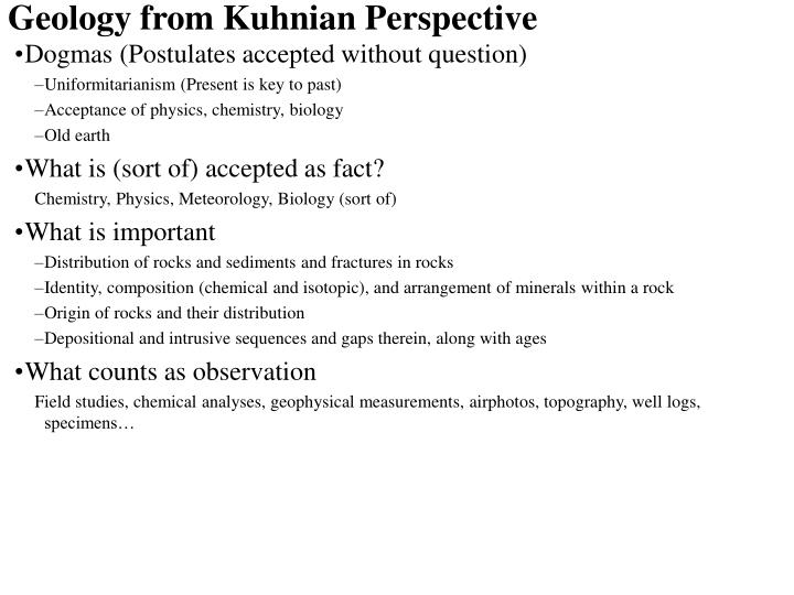 Geology from Kuhnian Perspective