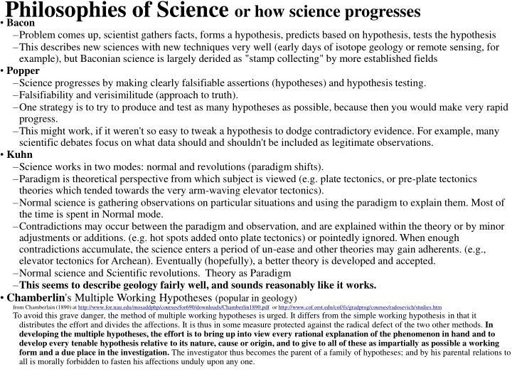 Philosophies of Science