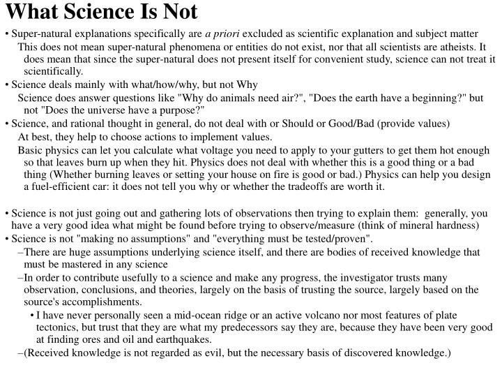 What Science Is Not