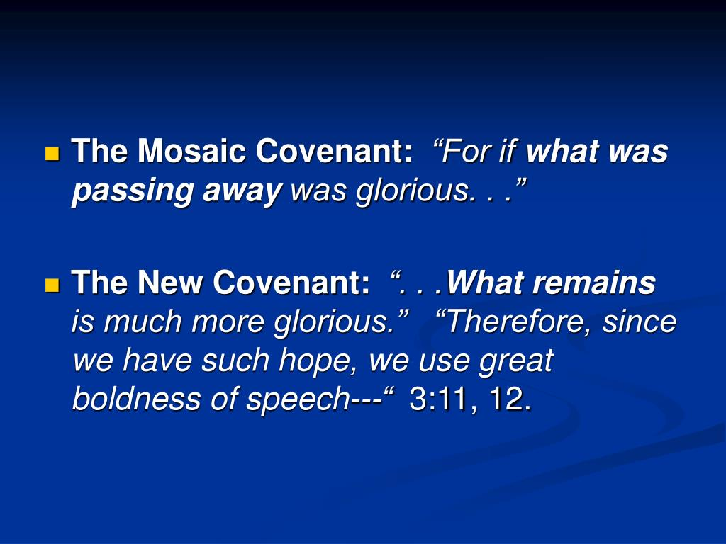 The Mosaic Covenant: