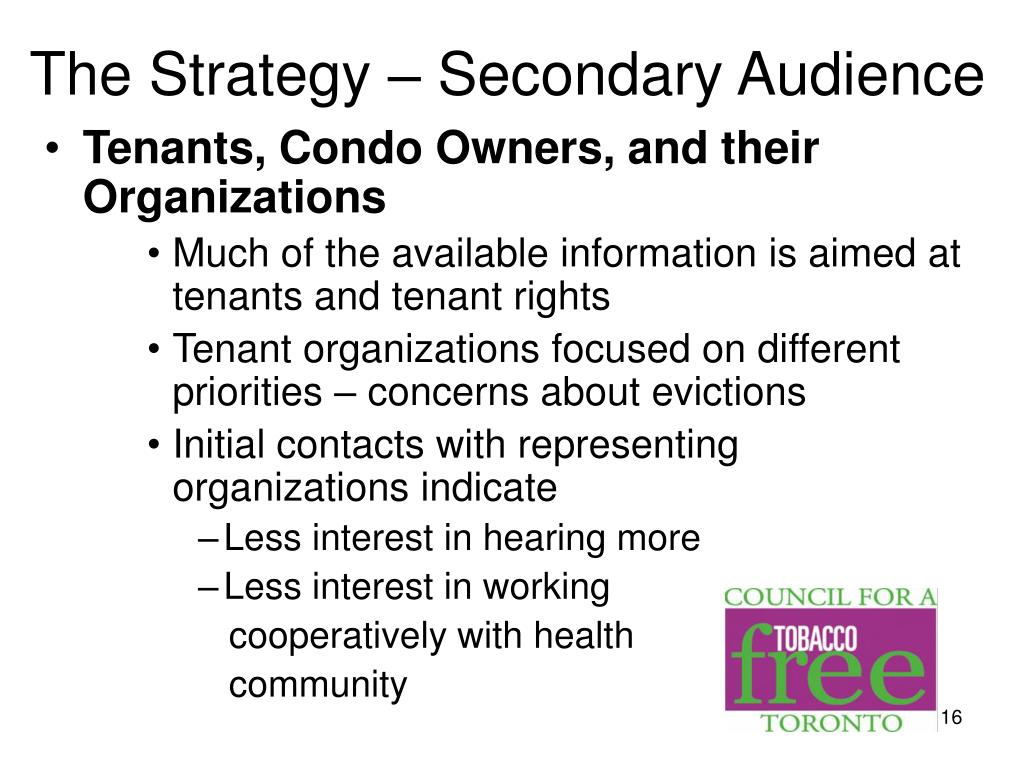 The Strategy – Secondary Audience