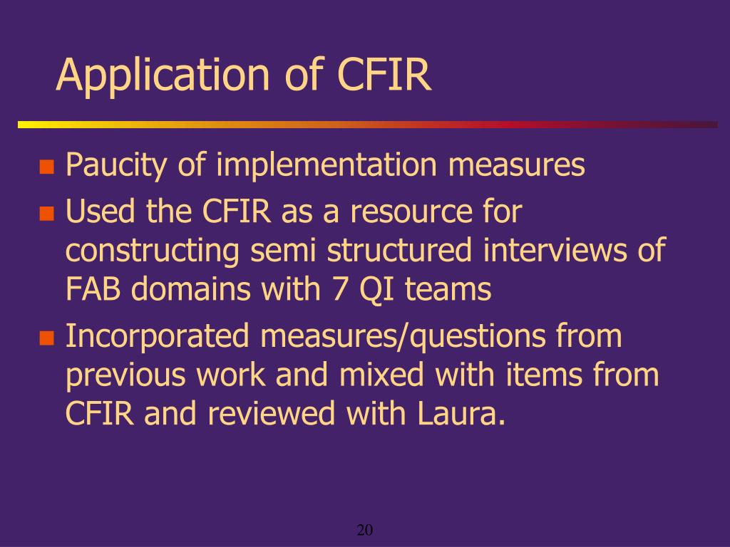 Application of CFIR