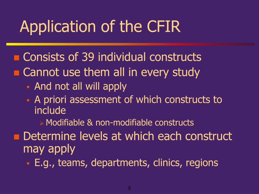 Application of the CFIR