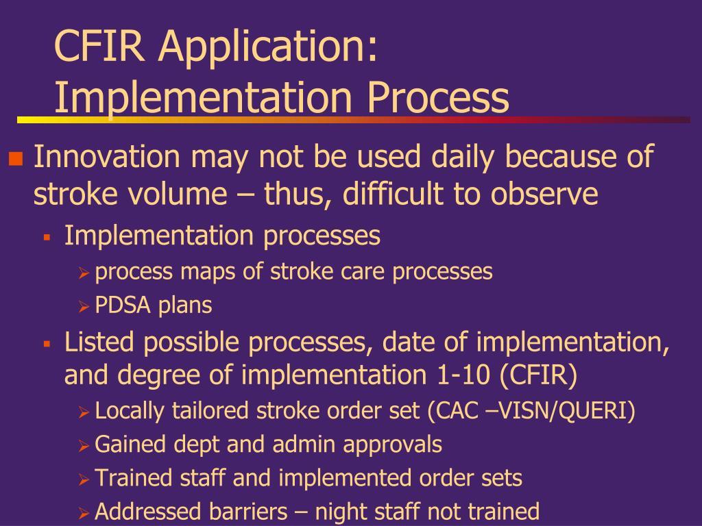 CFIR Application: Implementation Process
