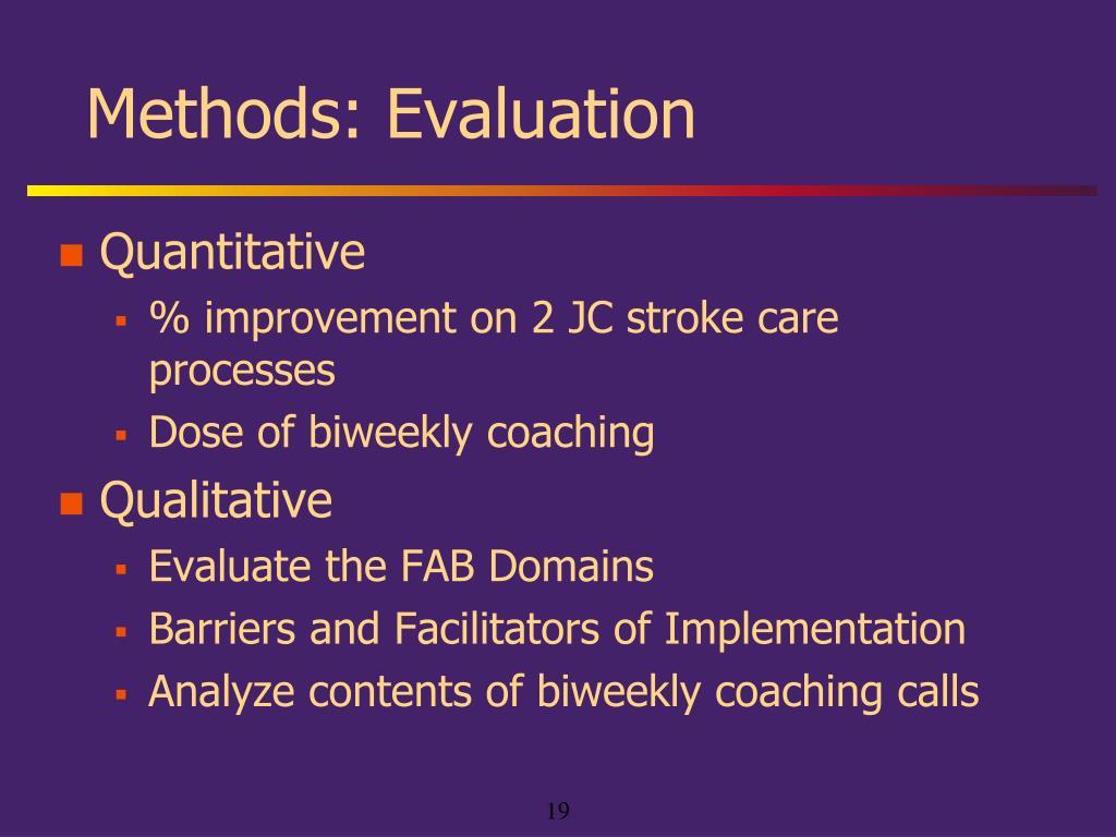 Methods: Evaluation