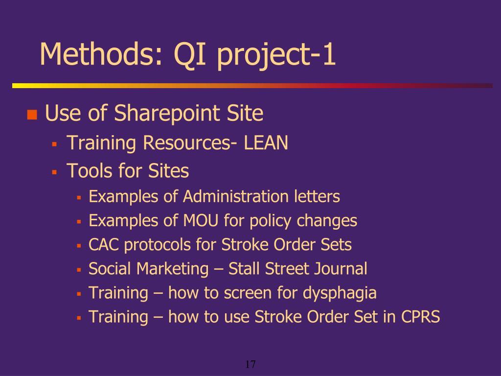 Methods: QI project-1