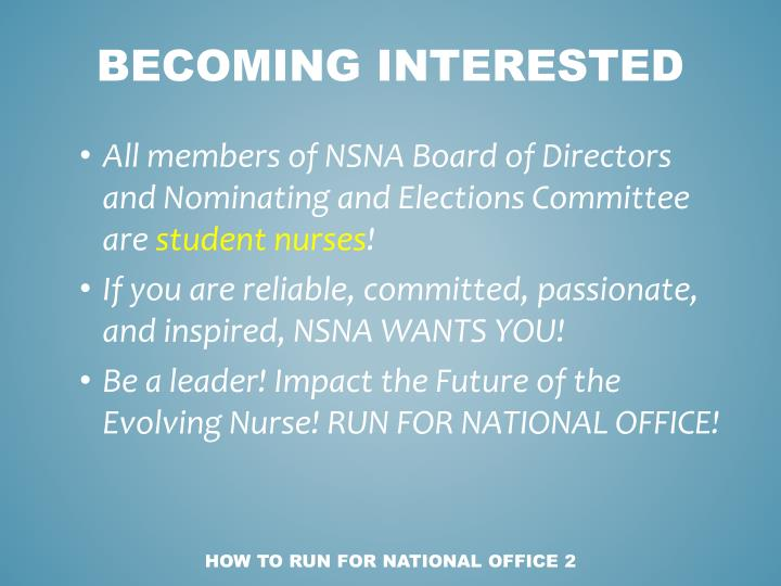 How to run for national office 2