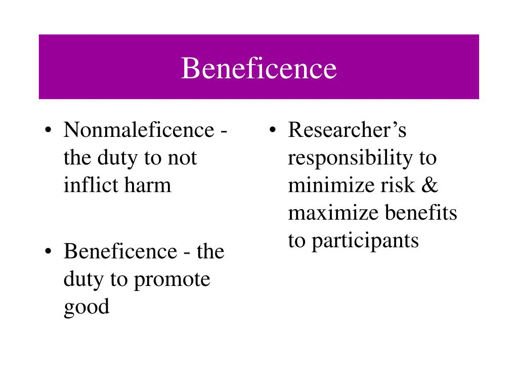 Nonmaleficence - the duty to not inflict harm