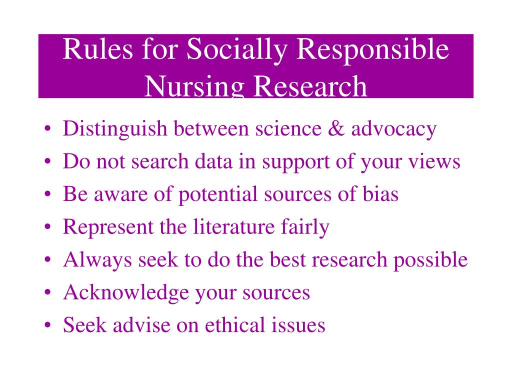 Rules for Socially Responsible Nursing Research