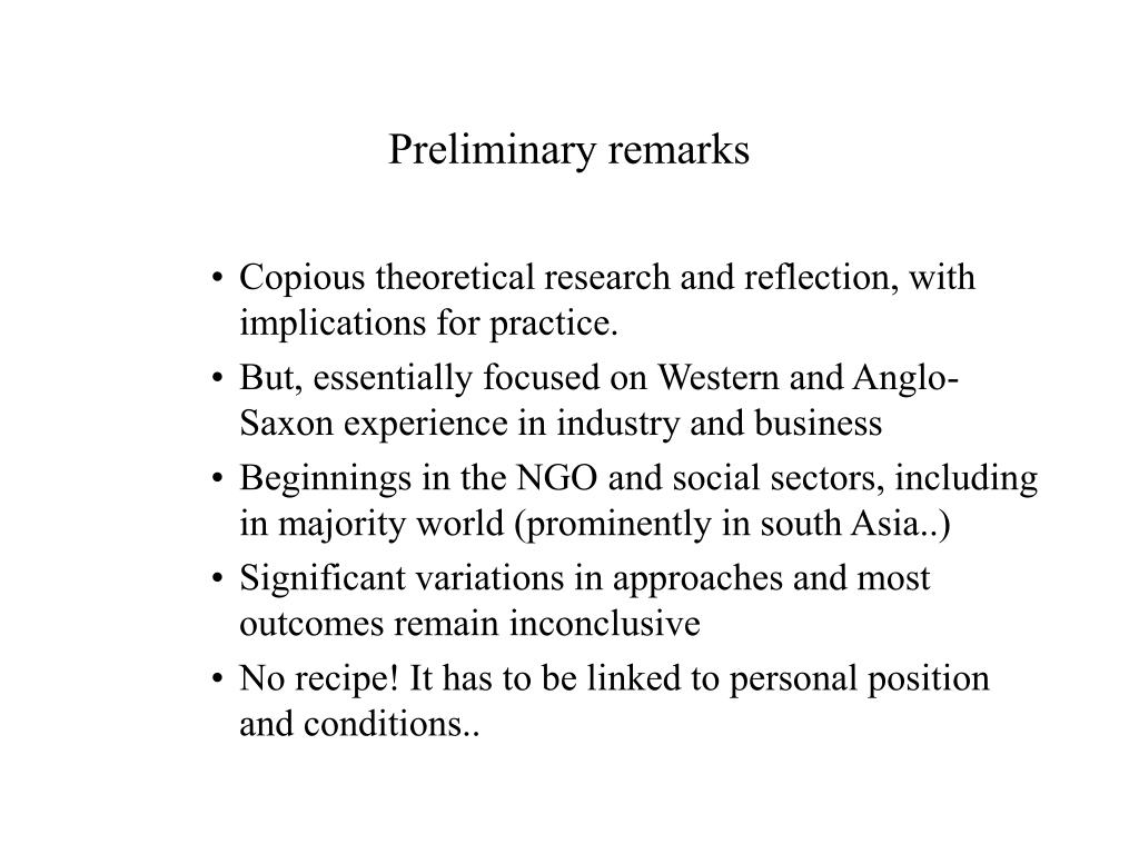 Preliminary remarks