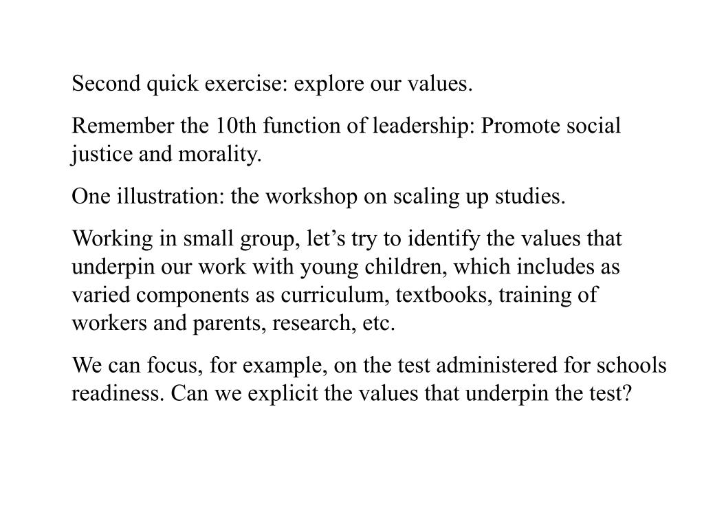 Second quick exercise: explore our values.