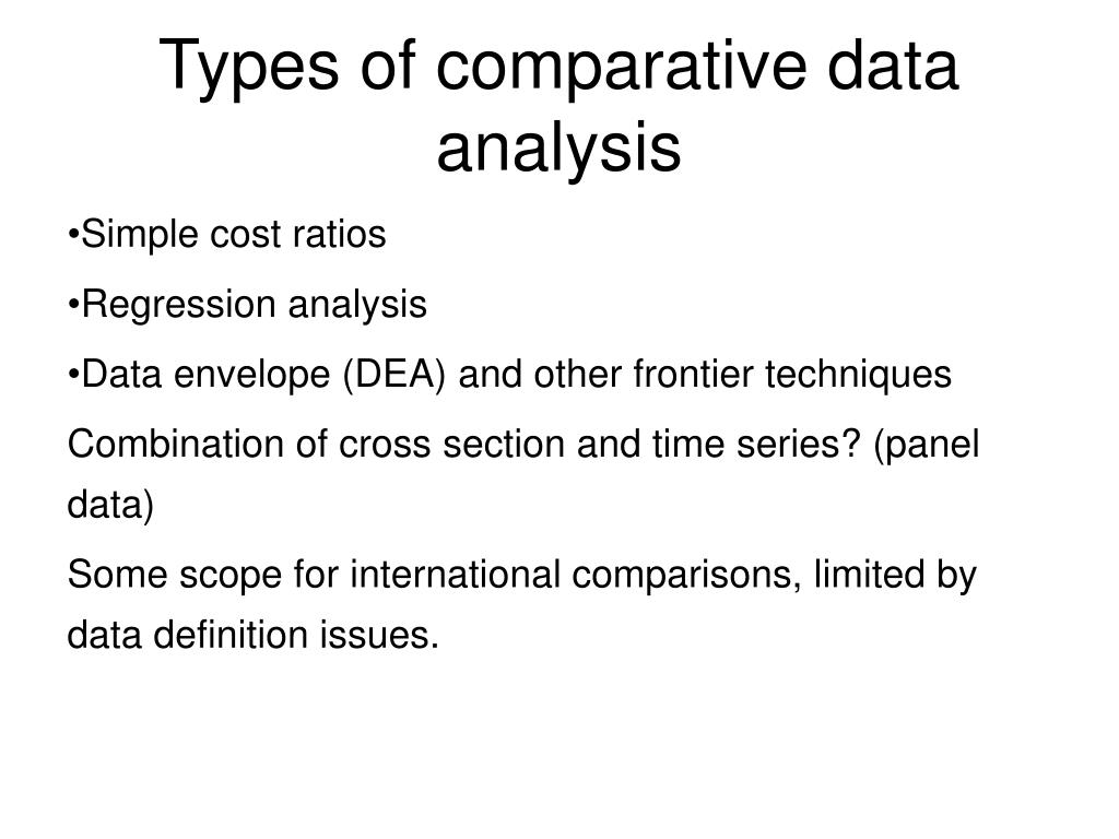 Types of comparative data analysis