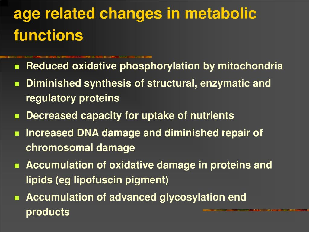 age related changes in metabolic functions