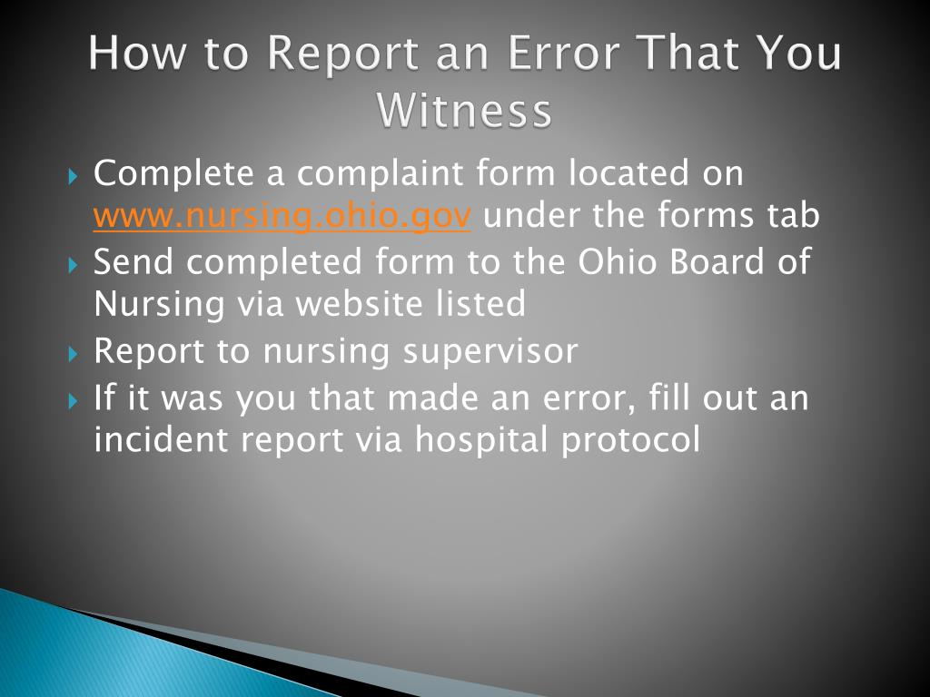 How to Report an Error That You Witness