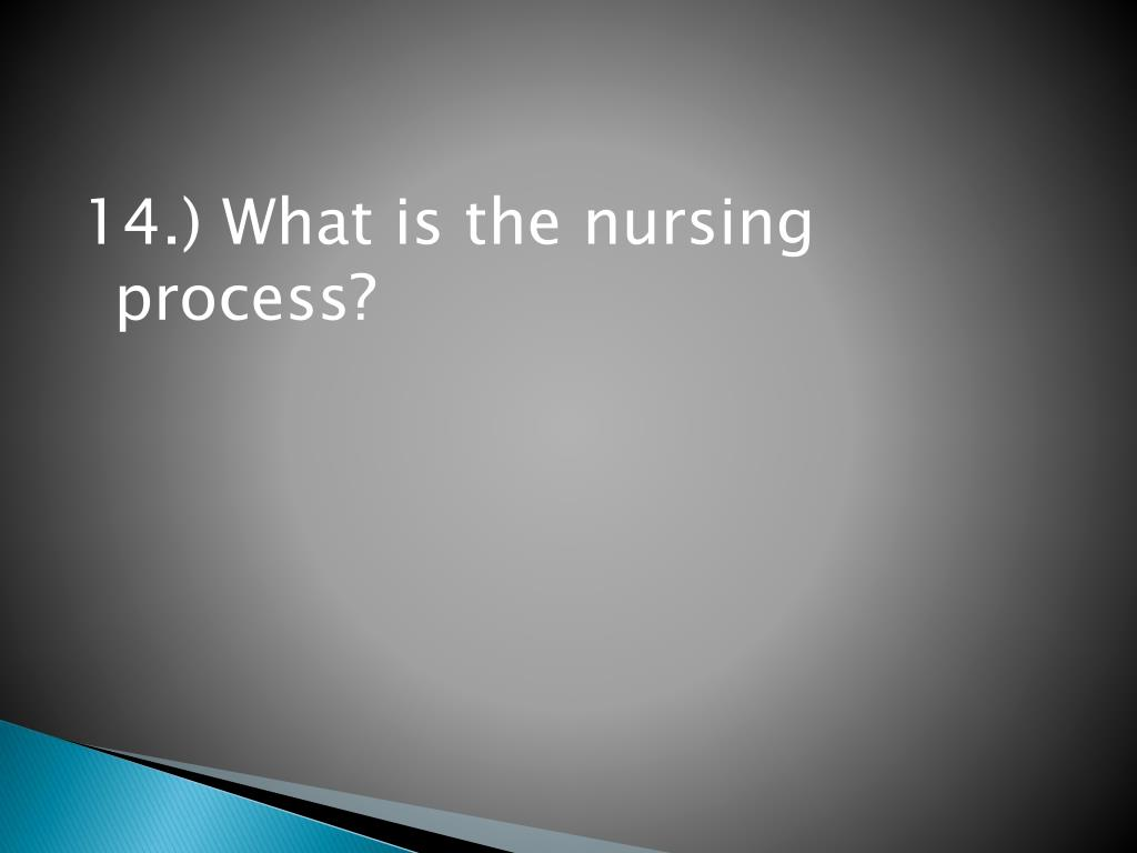 14.) What is the nursing process?