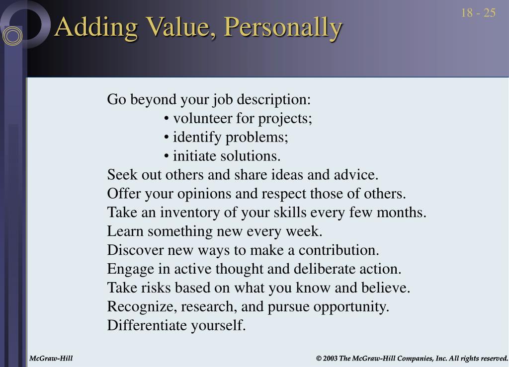 Adding Value, Personally