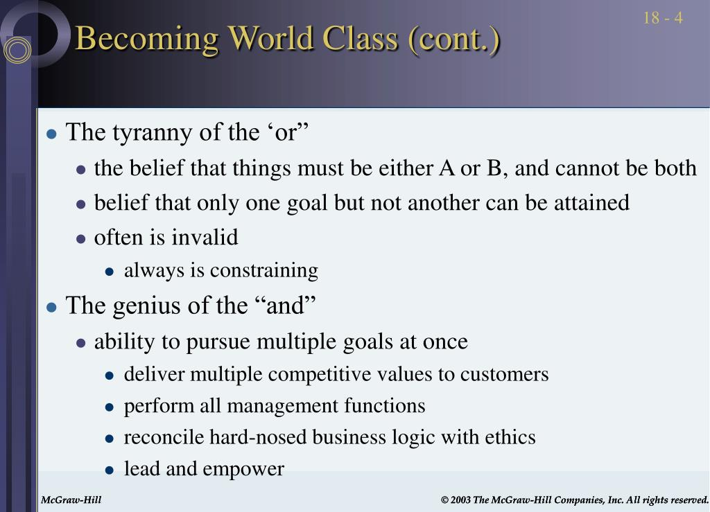 Becoming World Class (cont.)