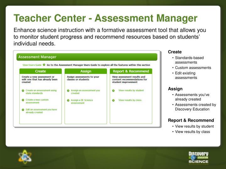 Teacher Center - Assessment Manager