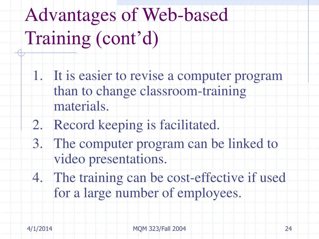 Advantages of Web-based Training (cont'd)