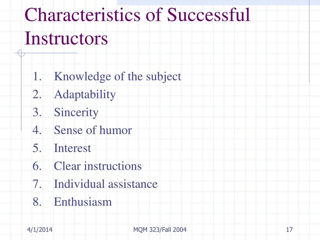 Characteristics of Successful Instructors