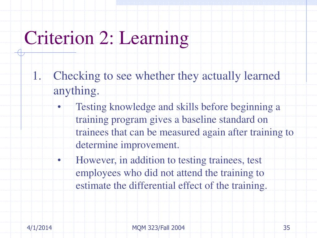 Criterion 2: Learning