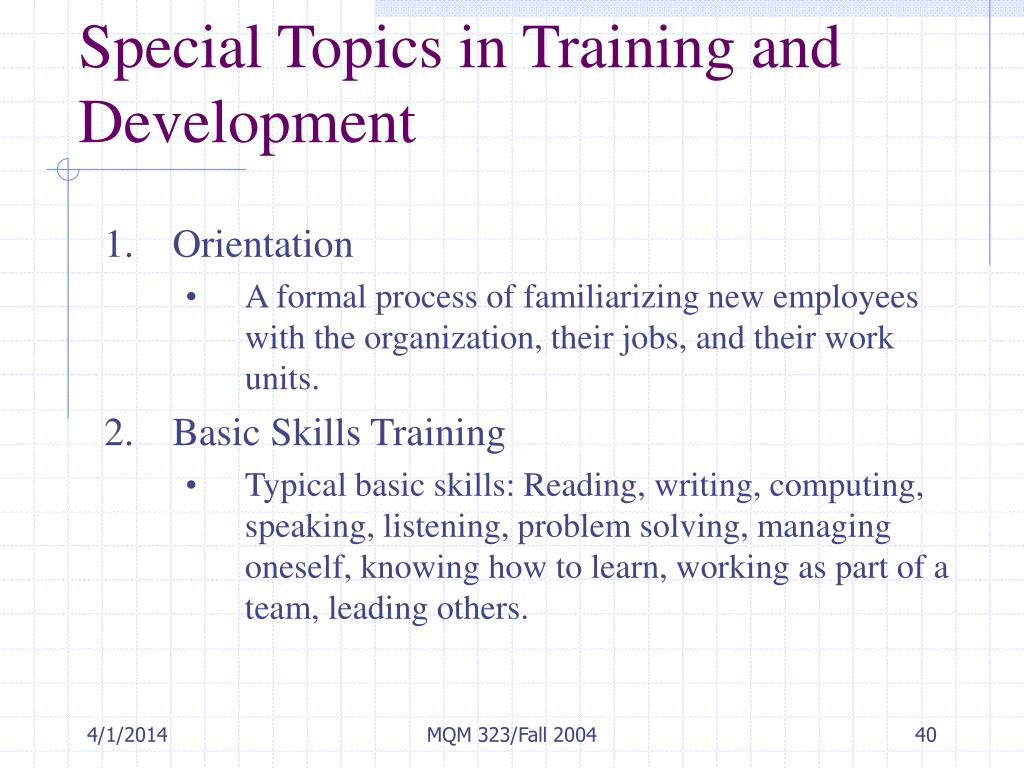 Special Topics in Training and Development