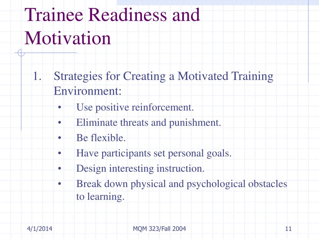 Trainee Readiness and Motivation
