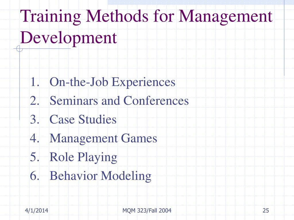 Training Methods for Management Development