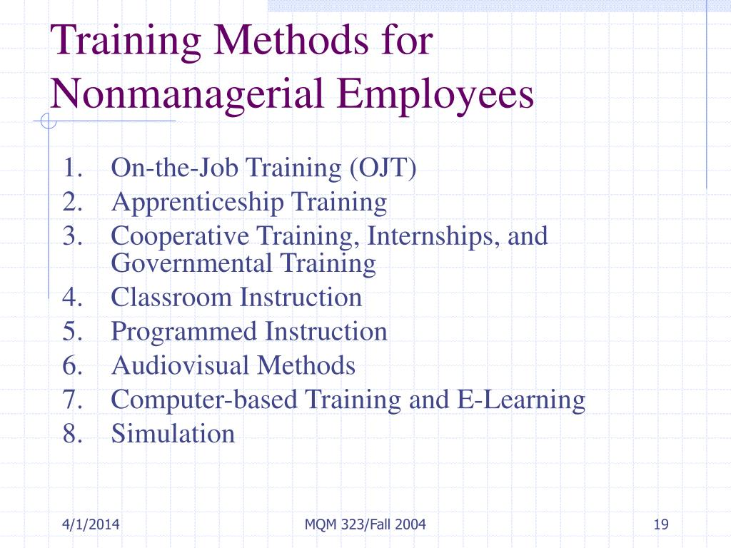 Training Methods for Nonmanagerial Employees
