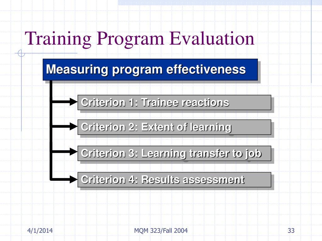Training Program Evaluation