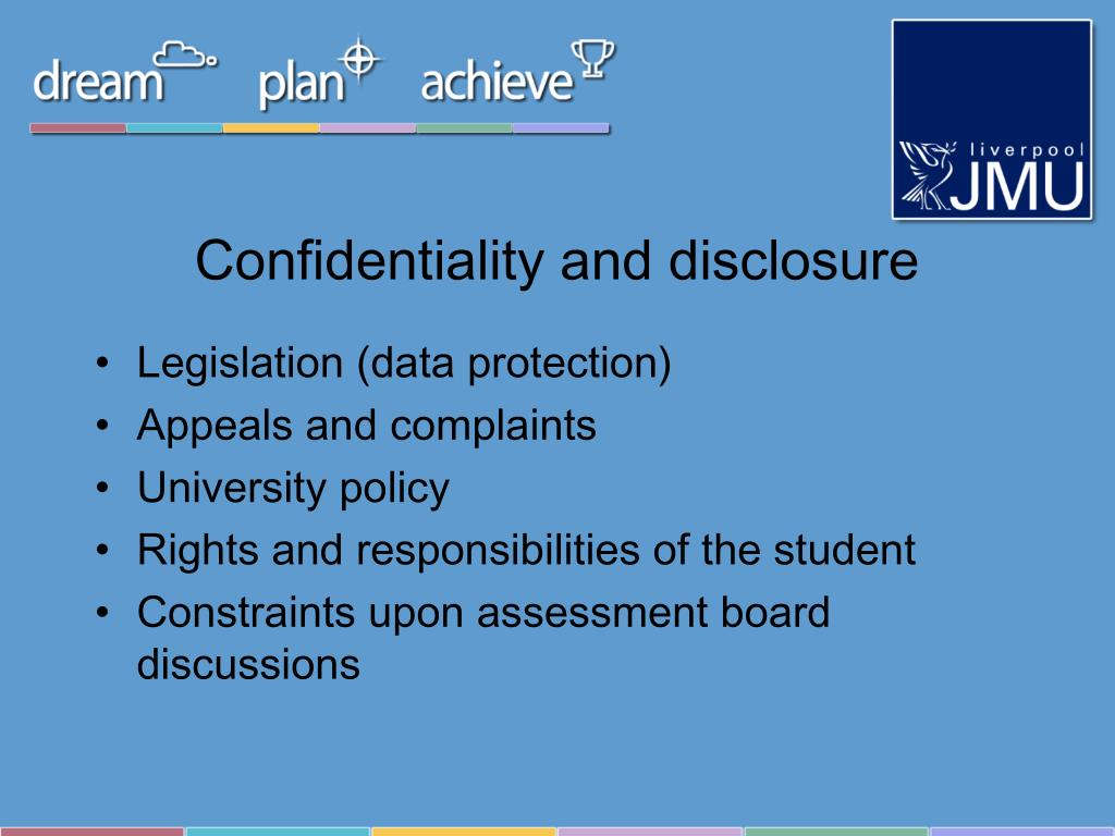 Confidentiality and disclosure