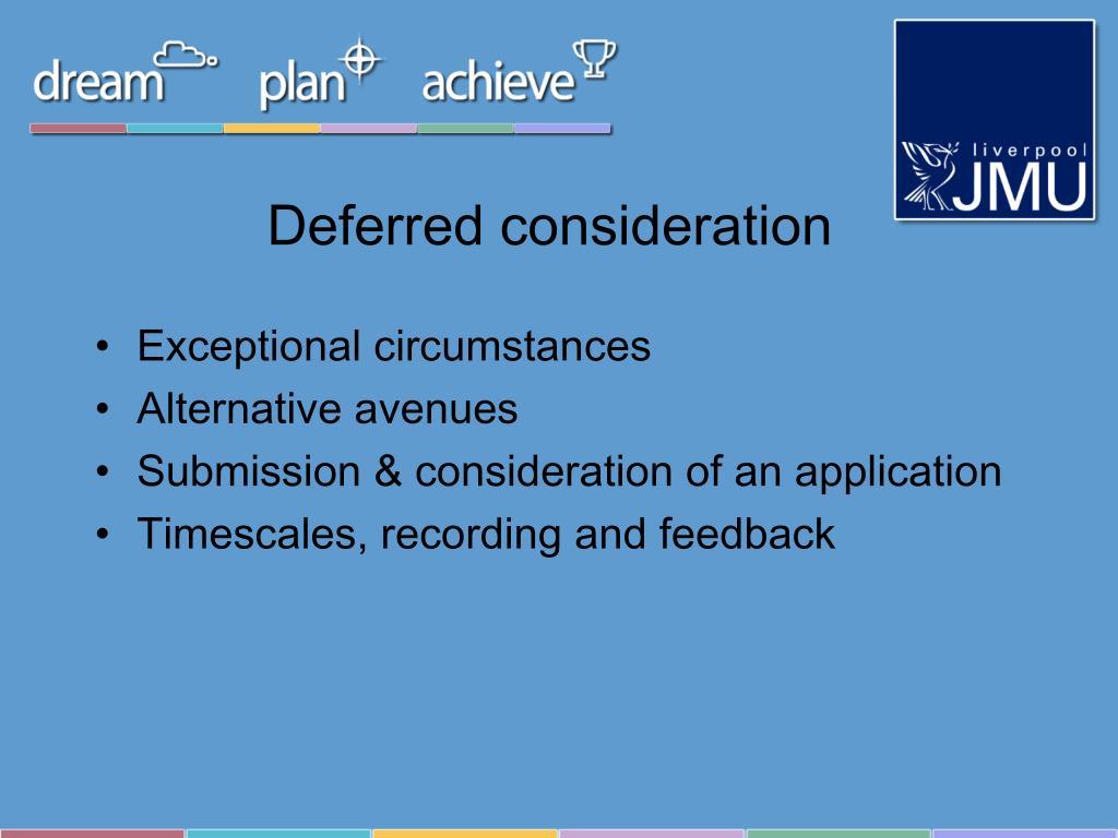 Deferred consideration