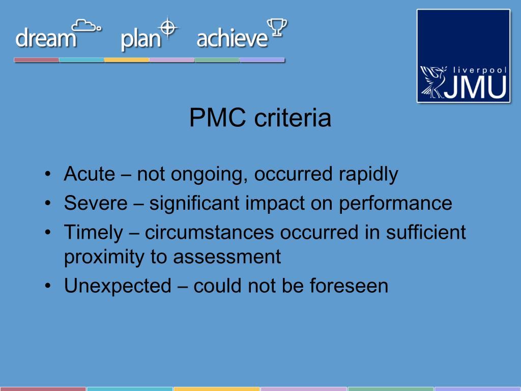 PMC criteria