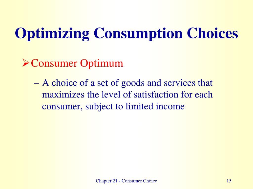 Optimizing Consumption Choices