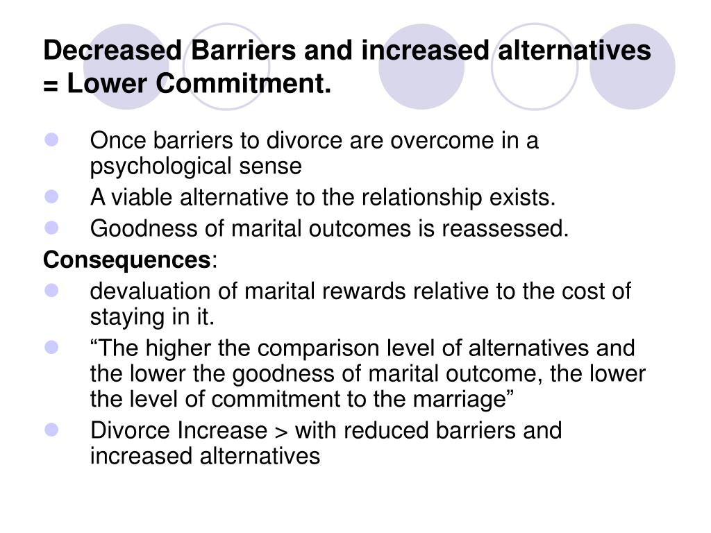 Decreased Barriers and increased alternatives = Lower Commitment.