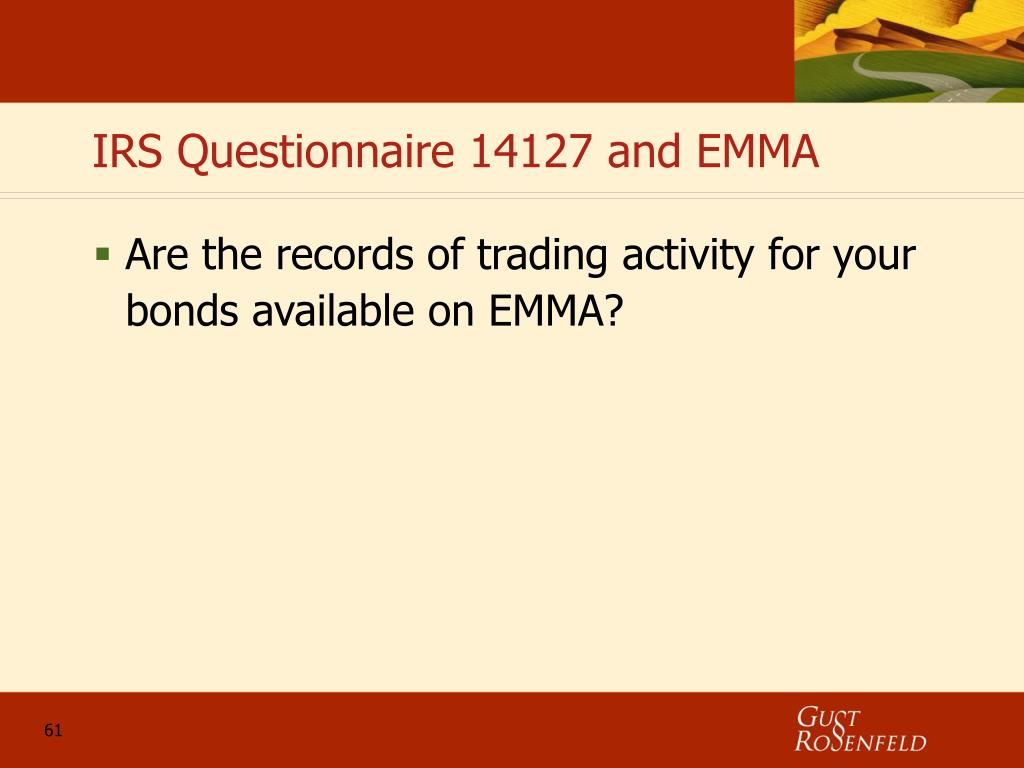 IRS Questionnaire 14127 and EMMA