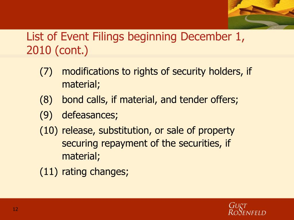 List of Event Filings beginning December 1, 2010 (cont.)
