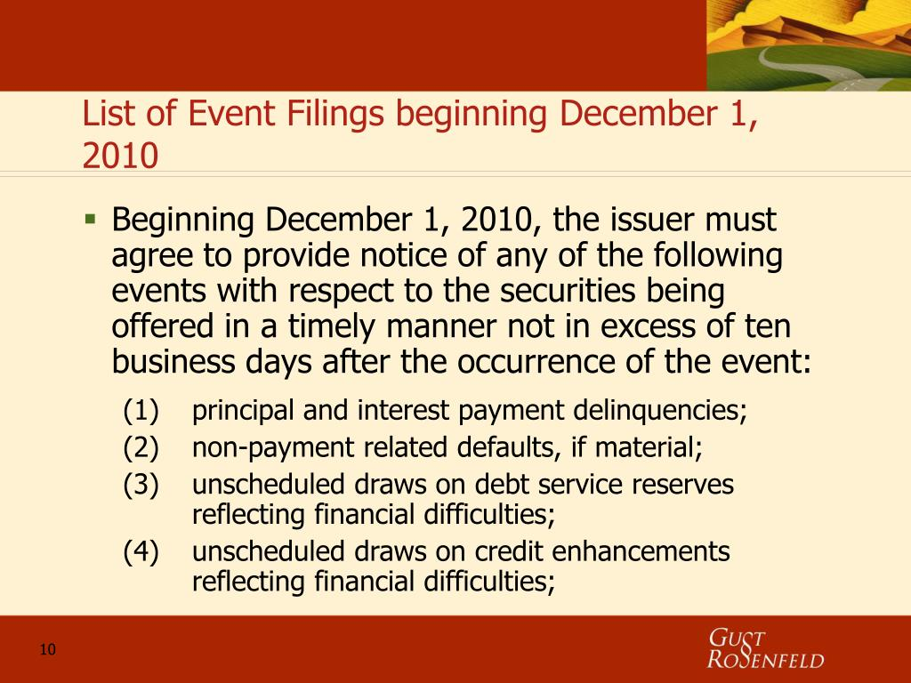 List of Event Filings beginning December 1, 2010