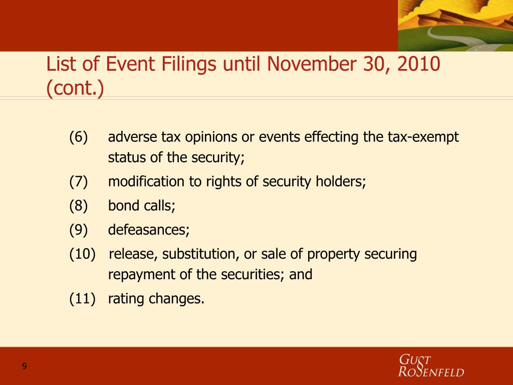 List of Event Filings until November 30, 2010 (cont.)