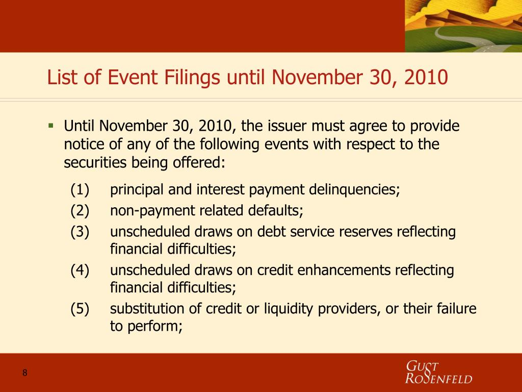 List of Event Filings until November 30, 2010