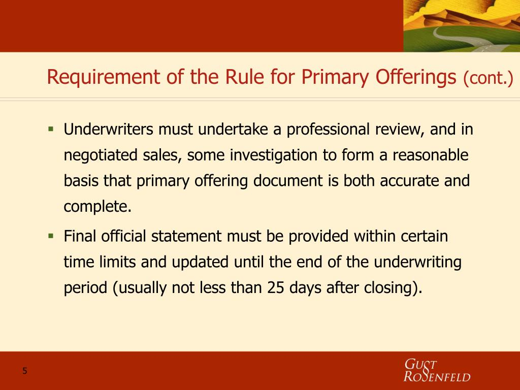 Requirement of the Rule for Primary Offerings