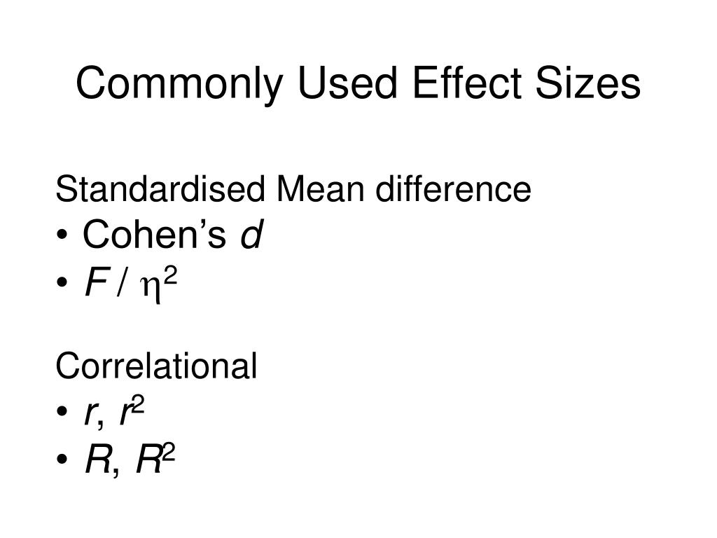 Commonly Used Effect Sizes