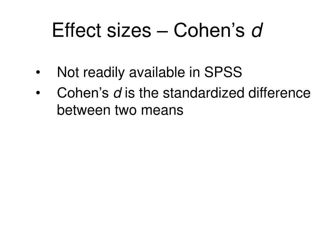 Effect sizes – Cohen's